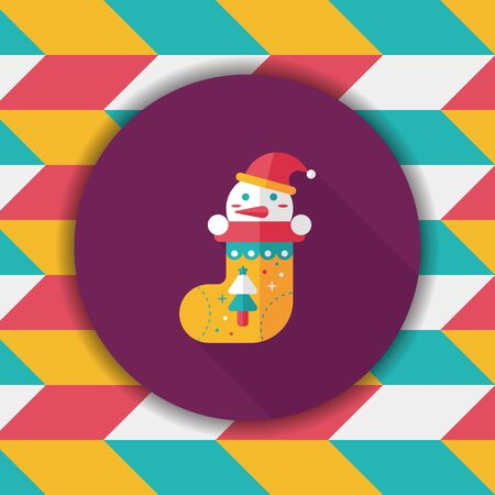 christmas stocking: Christmas stocking flat icon with long shadow,eps10
