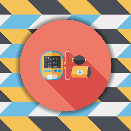 icono plana presión arterial esfigmomanómetro con larga sombra, eps10