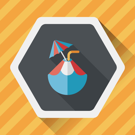 coconut water: Coconut Water Drink , flat icon with long shadow Illustration