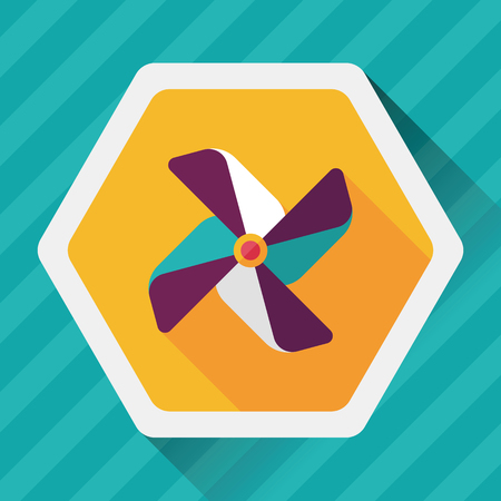 pinwheel toy: Windmill flat icon with long shadow