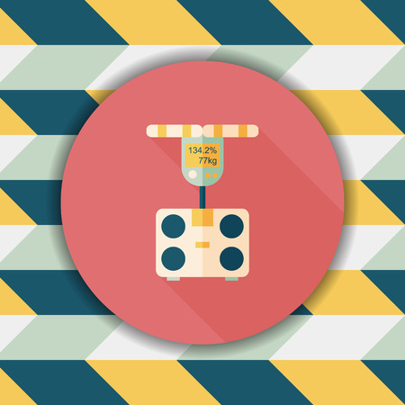 bulimia: Weight scale flat icon with long shadow,eps10 Illustration