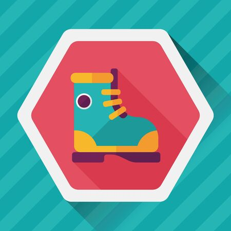 gumboots: Boot flat icon with long shadow Illustration