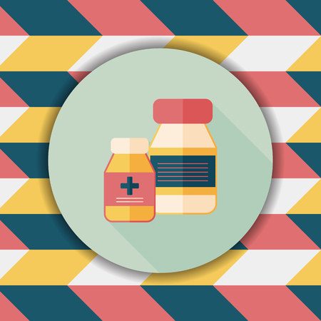 prescription bottles: Medical Bottle flat icon with long shadow,eps10