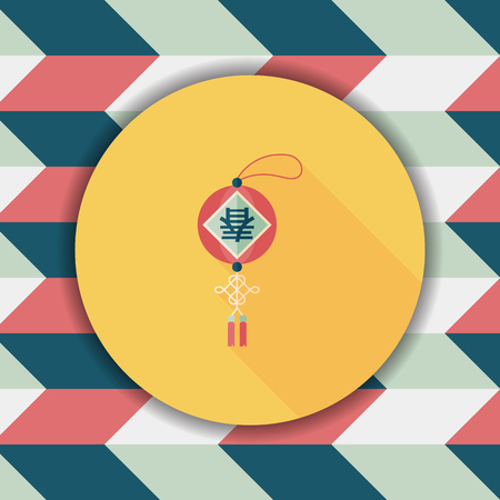 Chinese New Year flat icon with long shadow,eps10, Chinese festival couplets with lantern means  wish Spring comes.