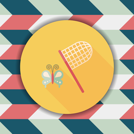 butterfly net: butterfly net flat icon with long shadow,eps10