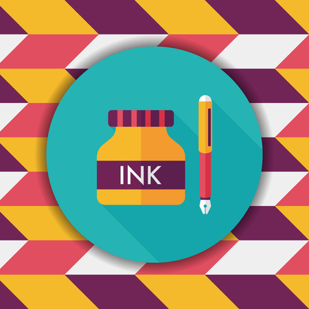 writing instruments: pen and  ink bottle flat icon with long shadow,eps10