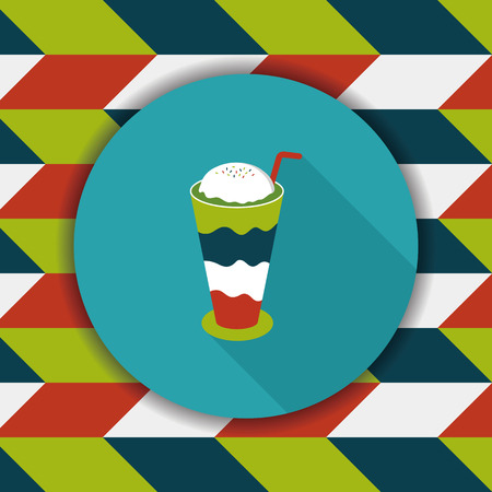 iced floating coffee flat icon with long shadow,eps10 Çizim