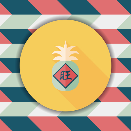 of them: Chinese New Year flat icon with long shadow,eps10, when you send pineapple for your friends in Chinese New Year means you wish them will be wealthy this year.