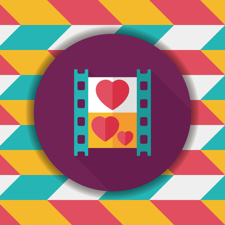 design media love: wedding film flat icon with long shadow,eps10