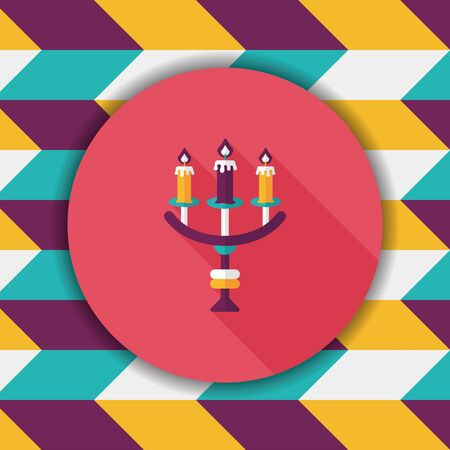 candlelight: Halloween candlestick flat icon with long shadow,eps10 Illustration