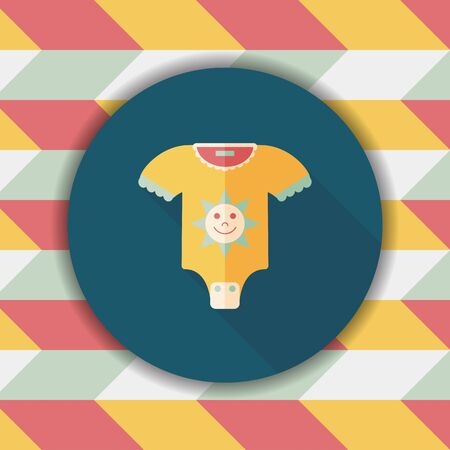 onesie: baby onesie flat icon with long shadow,eps10