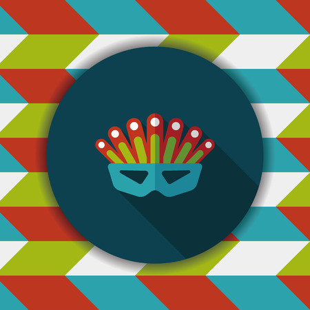 costume ball: party mask flat icon with long shadow,eps10 Illustration