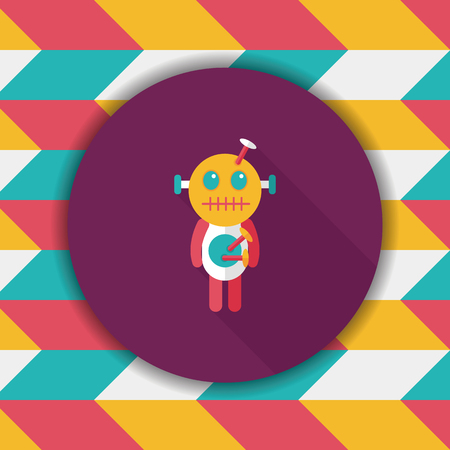 voodoo doll: Halloween voodoo doll flat icon with long shadow,eps10 Illustration