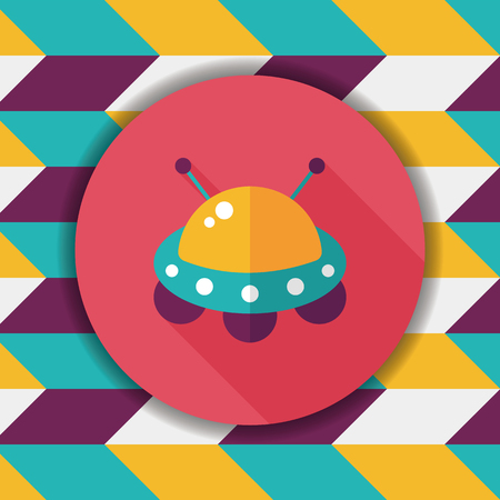 invaders: Space flat icon with long shadow,eps10