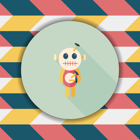 spiritually: Halloween voodoo doll flat icon with long shadow,eps10 Illustration