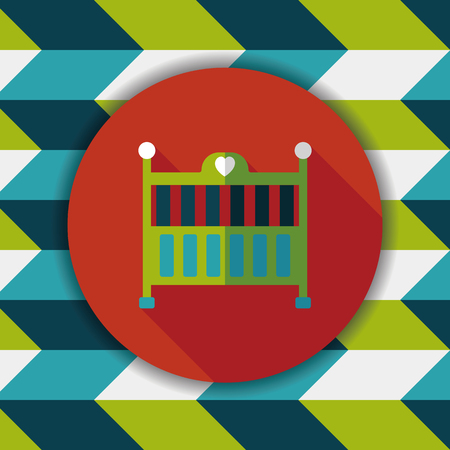 baby cradle bed flat icon with long shadow,eps10
