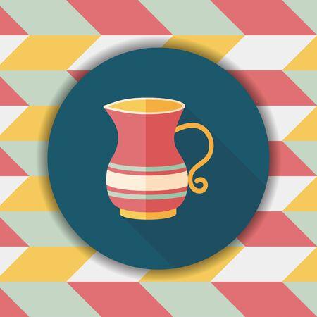 tea pot: tea pot flat icon with long shadow,eps10