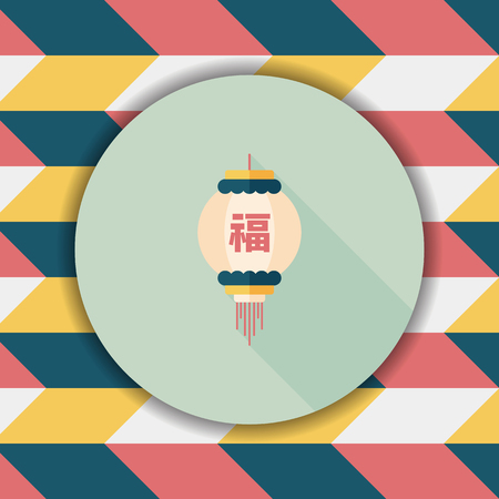 Chinese New Year flat icon with long shadow,eps10, Chinese festival couplets with lantern means  wish good lucks