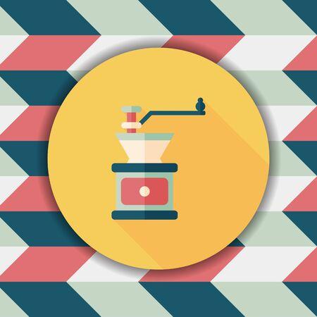 coffee machine: grinding coffee machine flat icon with long shadow,eps10