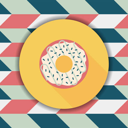 savory: donut flat icon with long shadow,eps10 Illustration