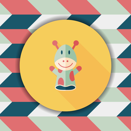 marionette: Giraffe hand puppet flat icon with long shadow,eps10