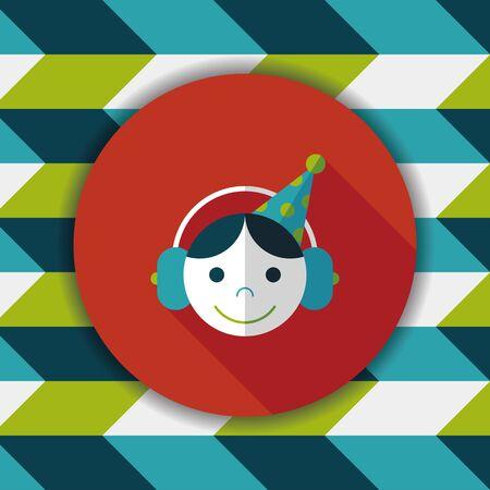 dj boy: Birthday party boy flat icon with long shadow,eps10 Illustration