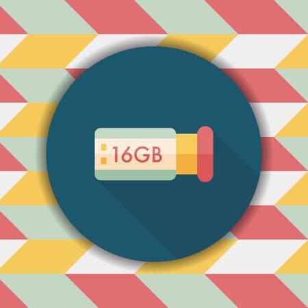 usb flash memory: Usb flash memory flat icon with long shadow,eps10 Illustration