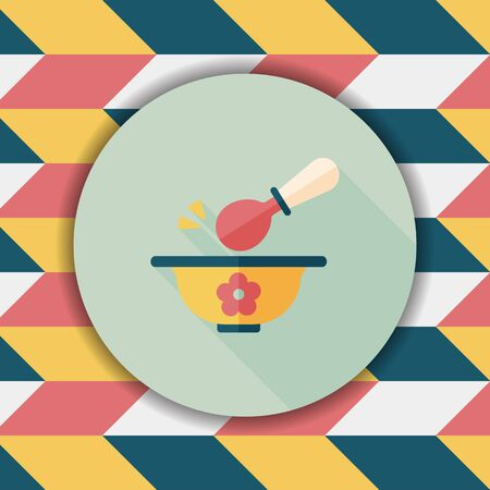 lactic: baby food bowl flat icon with long shadow,eps10 Illustration