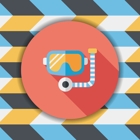rubber tube: Mask and snorkel flat icon with long shadow, eps10