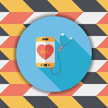 focus on shadow: heart rate sport equipment flat icon with long shadow,eps10