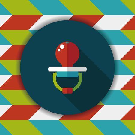 dummy: Babys dummy flat icon with long shadow,EPS 10