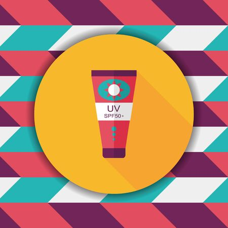 uv: Sunscreen flat icon with long shadow,eps10 Illustration