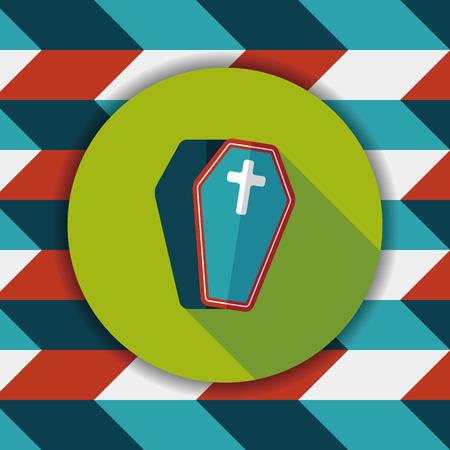 crematorium: coffin falt icon with long shadow,eps10
