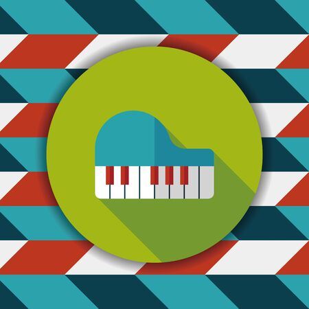 ebony: piano flat icon with long shadow,eps10 Illustration