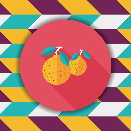 mandarin oranges: Chinese New Year Mandarin Oranges flat icon wtih long shadow,eps10