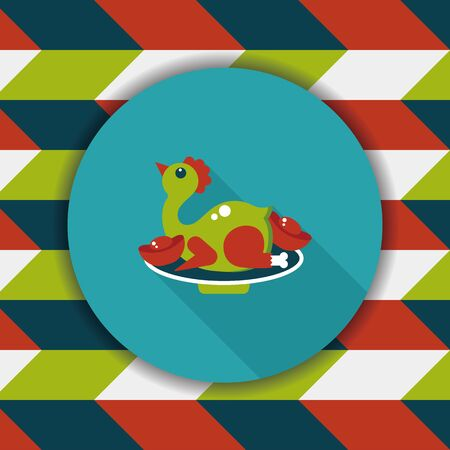 duck meat: Chinese New Year flat icon with long shadow,eps10, Chinese Chicken Cuisine Illustration