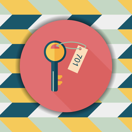 fob: hotel key flat icon with long shadow,eps10