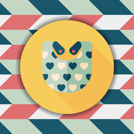 baby bib flat icon with long shadow,EPS 10 Vettoriali