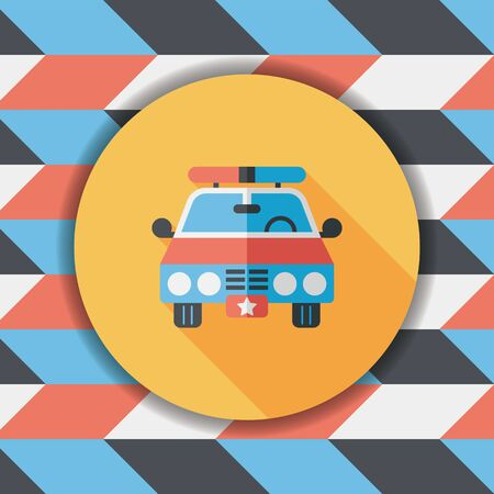 motor cop: Transportation police car flat icon with long shadow,eps10 Illustration