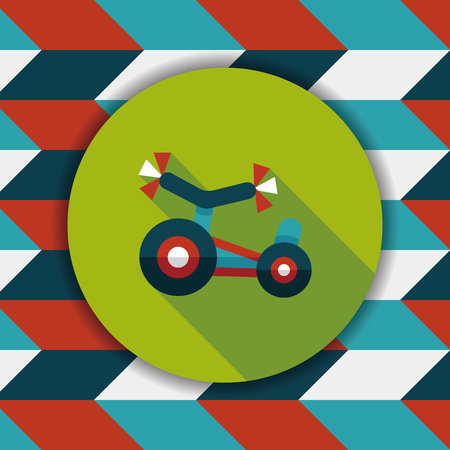 tricycle: Kids Tricycle flat icon with long shadow,eps10