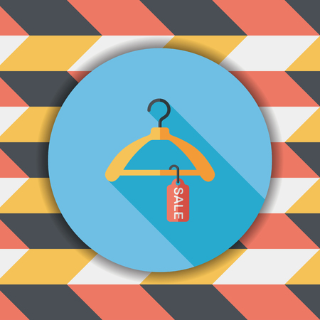 coathanger: shopping clothes hanger flat icon with long shadow,eps10