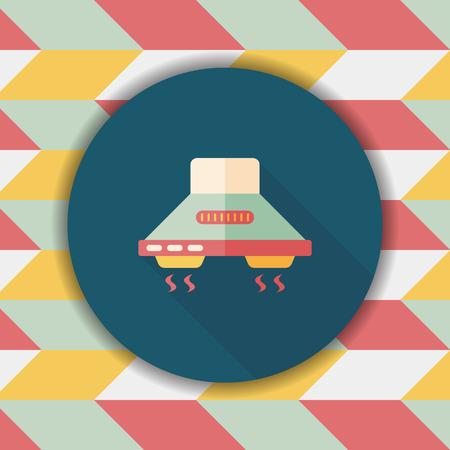 range: kitchenware range hood  flat icon with long shadow,eps10 Illustration