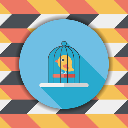bird shadow: Pet bird cage flat icon with long shadow, eps10
