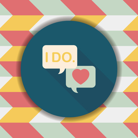 vow: wedding yes i do words flat icon with long shadow,eps10 Illustration