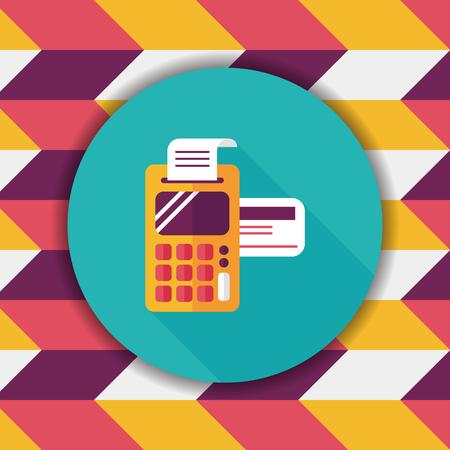 Het winkelen creditcardmachine vlak pictogram met lange schaduw, eps10