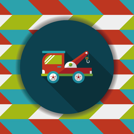 tow: Transportation Tow Truck flat icon with long shadow,eps10 Illustration