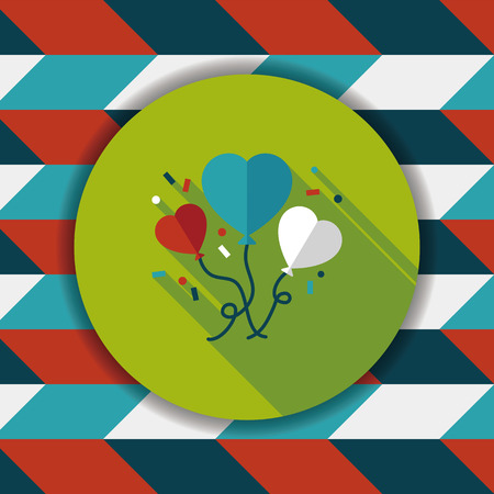 ballons: wedding ballons flat icon with long shadow,eps10