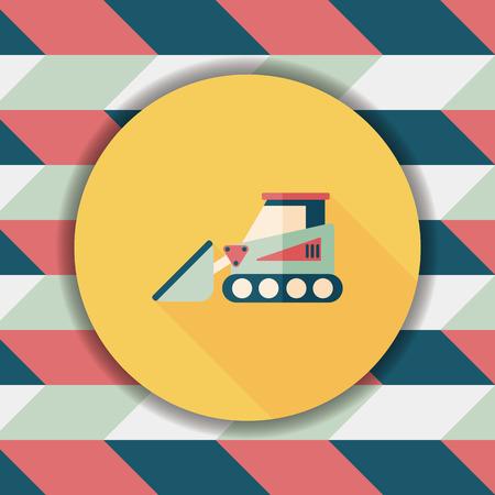 heavy construction: Transportation bulldozer flat icon with long shadow,eps10