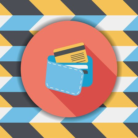 change purses: shopping wallet flat icon with long shadow,eps10 Illustration
