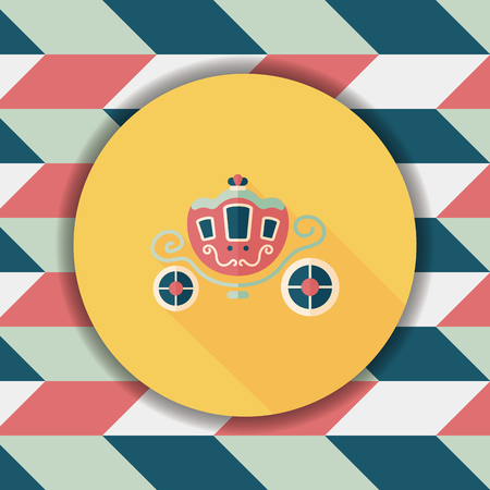 enchanting: wedding carriage flat icon with long shadow,eps10